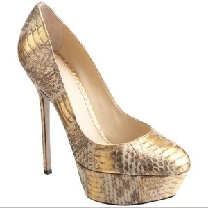 SERGIO ROSSI GOLD SNAKE SKIN PUMPS NEW IN BOX 37.5
